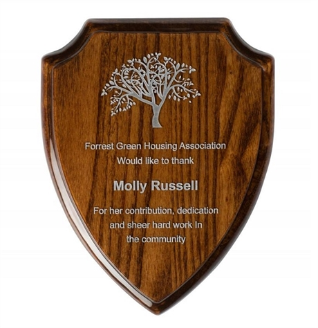 High Gloss Walnut Finish Shield Plaques